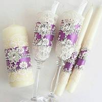 Свадебный набор (свечи, бокалы,повязка)