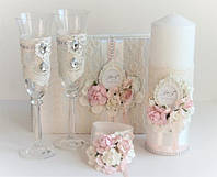 Свадебный набор (Бокалы, свечи, папка для свидетельства)