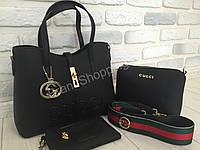 Удобная женская кожаная сумка 3в1 Gucci 0364s