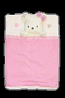 Плед одеяло из интерлока 85х87 см Мишка девочка Турция, фото 1