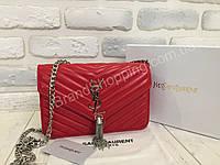 Женская кожаная сумочка YSL красная  0372, фото 1