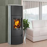 Печь-Камин ROMOTOP LUGO 02 W (стальной корпус + натуральный камень сверху и с боков) теплообменник max.5kW