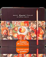 """Карандаши цветные """"MARCO"""" Renoir в металлическом пенале кедр (24 цвета)"""