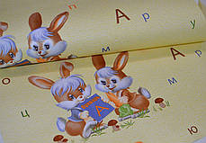 Обои для стен шпалери в дитячу жовті зайчата желтые бумажные 0,53*10м,ограниченное количество, фото 2
