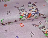 Обои на стену, бумажные, зайчата, зайчики, буквы, детские, розовые, артикул 74-06, 0.53*10м