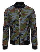 Куртка Мужская Бомбер из полиэстера низ, низ рукавов и вортник  из трикотажного довяза камуфляж серый M