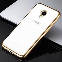 Накладка для Meizu M5 силікон Прозорий/Золотий
