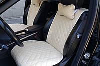 Накидки на автомобильные сиденья AVторитет (полный комплект, ШИРОКИЕ, бежевые). Авточехлы