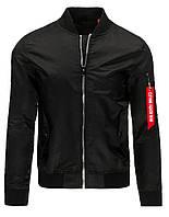 Мужская куртка Бомбер с воротником -стойкой, манжетами и планкой по низу  из трикотажной резинки черный  XXL