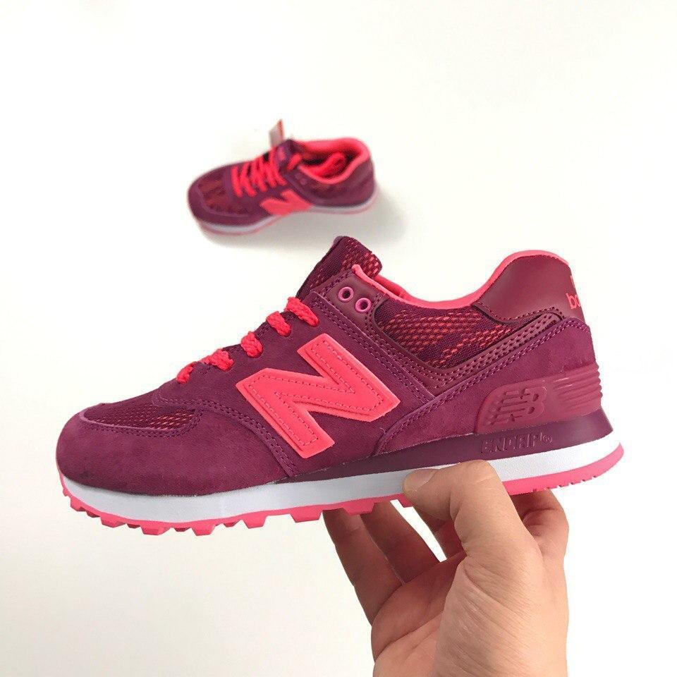 Женские кроссовки New Balance 574 pink laces. Топ качество. Живое фото (Реплика  ААА 995130e599c46