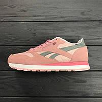 Кроссовки Reebok Classic pink green. Живое фото! Топ качество! (рибок) 38