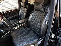 Авточехлы из экокожи на Acura (полный комплект, ШИРОКИЕ, черные)