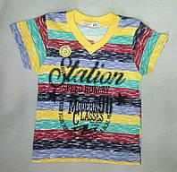 Детская футболка в полоску мысиком для мальчиков 1-4 года