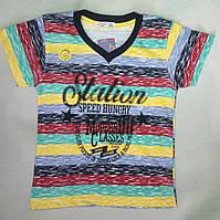 Детская футболка в полоску мысиком для мальчиков 5-8 лет