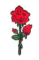 Аппликация клеевая вышитая 12,5 см, Роза с бутоном