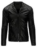 Куртка мужская кожаная на молнии с не высокой элегантной стойкой и планкой по низу черный  XXL