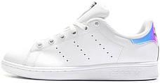 Женские кроссовки в стиле Adidas Stan Smith White Metallic Silver-Sld