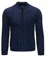 Модная мужская куртка Бомбер с вортником - стойкой, манжетами и планкой по низу из довяза  темно-синий  L