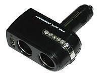 Двойник в прикуриватель 0142 2-1+USB black