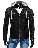 Куртка мужская кожаная комфортного покроя со съёмным трикотажным капюшоном черный  XXL
