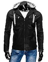 Куртка мужская кожаная на молнии со съёмным капюшоном и регулировкой по низу изделия черный  xxXL