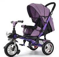 Детский велосипед 3-х колес TR20106, надувные колеса, фиолетовый