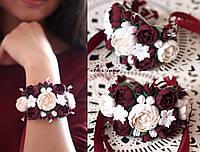 """""""Элегантный бордо"""" браслет с цветами ручной работы.  Браслеты для подружек невесты, фото 1"""