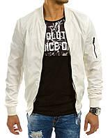 Куртка мужская Бомбер с отделанным трикотажным  довязом воротником, манжетами и планкой в низу бежевый M