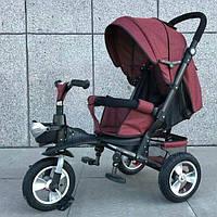 Детский велосипед 3-х колес TR20105, надувные колеса, бордовый