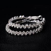 Серьги кольца ф 4,3 см ювелирная бижутерия посеребрение 1319