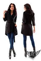 Кашемировое пальто-накидка с капюшоном, цвета черное, темно-синее, горчица, универсальный размер