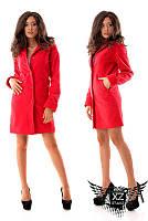 Женское ашемировое пальто на подкладке, цвета черное, красное, молоко, все размеры