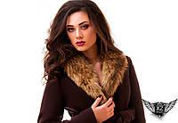 Женское пальто (зимнее) с мехом енота, цвета красное, шоколадное, все размеры