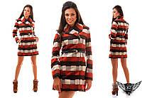 Женское пальто в клетку на змейке, цвета красное, бутылка, кирпич, все размеры