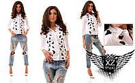 Женская рубашка с принтом бабочки черного цвета, цвета белая, все размеры
