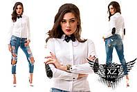Женская рубашка с бабочкой и вставками из кожи, все размеры