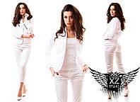Женский костюм брюки и пиджак белый, белоснежный, все размеры