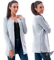 Женский пиджак жакет длинный из неопрена, цвета светло-серый, электрик, все размеры