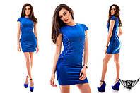 Замшевое платье с люверсами, короткое, цвета серое, электрик, бутылка, красное, тёмно-зеленое, синее..