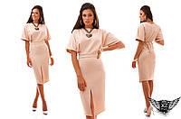 Платье с разрезом спереди и коротким рукавом, цвета желтый, фиолетовый, бежевый, коралловый, розовый, горчица