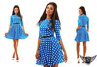 Короткое платье с принтом и поясом, цвета электрик, фиолетовое, красное, горчица, ментоловое, все размеры