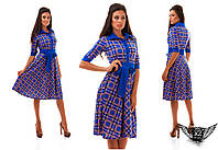 Платье миди с принтом клетки, цвета красное, горчица, электрик, тёмно-синее, бежевое, оливковое, все размеры