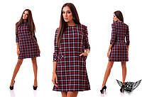 Платье-трапеция алекс в клетку с карманами и рукавом 3/4,  выше колена, все размеры,