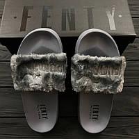 Женские тапочки Puma Rihanna Fenty Grey. Живое фото. Топ качество! (пума тапочки)