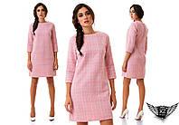 Платье из твида прямого кроя короткое, шанель, цвета розовое, черное, электрик, тёмно-синее, красное, голубое..