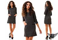Платье трикотаж со вставками из эко кожи, рукав 3/4, цвета светло-серое, темно-серое,каппучино, все размер
