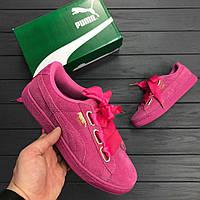 Кроссовки Puma Suede Heart Satin Pink. Живое фото. Топ качество!