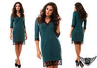Платье ангора с кружевом, v-образный вырез , рукав до локтя, цвета красное, серое, бордовое, тёмно-зеленое...