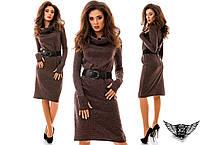 Платье c  хомутом, рукав-перчатка и поясом, цвета синее, бежевое, серое, шоколадное, бордовое, все размеры