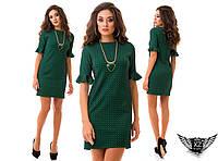 Стильное молоежное платье мини, рукав волан, цвета голубой, бордовое, электрик, тёмно-синее, зеленое, пудры, все размеры
